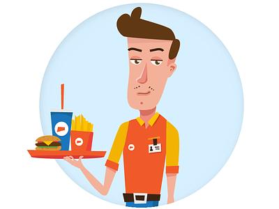 Mark - character food fast vector character illustration hamburger