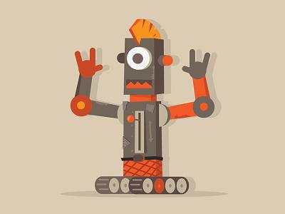 Punk Robot character flat illustrator punk robot