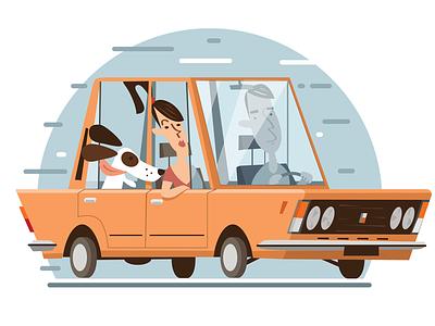Polski Fiat cartoons design flat vector illustrator 125p fiat car