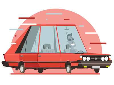 Polonez illustration vector design illustrator polonez car old