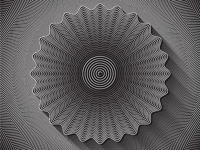 Day51- 'Sunflower' illustrator vector blend tool black and white illustion jitter optical blend shapes lines opart 100days