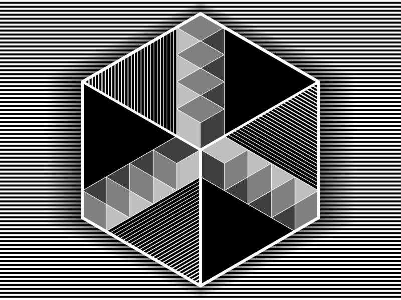 Cubed 18 - Nov.14.2018 opart lines stripes shadows illustrator shapes blend art blend tool vector