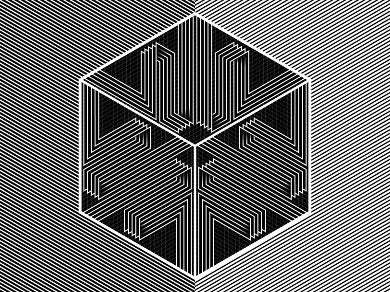 Cubed 19 - Nov.21.2018 lines stripes shadows illustrator shapes black and white blend art blend tool vector