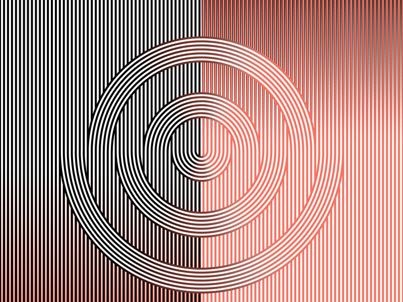 18.January.2019 pantone color of the year opart lines stripes shadows illustrator shapes blend art blend tool daily vector