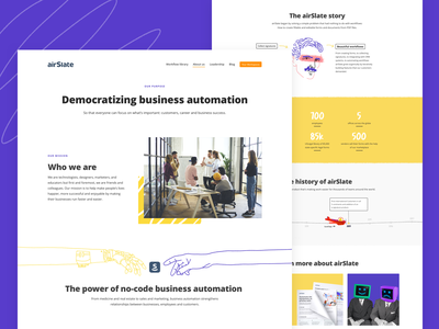 About us team page teammates airslate automation marketing marketing team website web ui web design timeline timeline design abutomation landing page story purple yellow our team about us