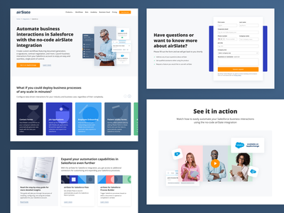 Automate Salesforce workflows with airSlate integration web design ux minimal hrm saas crm blue marketing landing page web form airslate integrations salesforce website design ui automation website integration