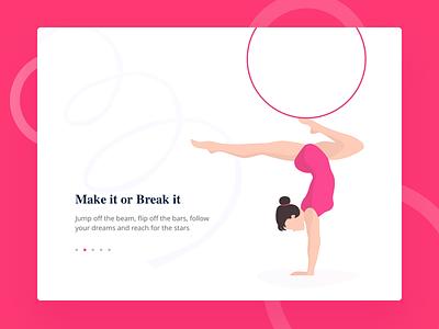 Gymnastics illustration for a website sport hoop acrobatics girl debut slider illustration gymnastics