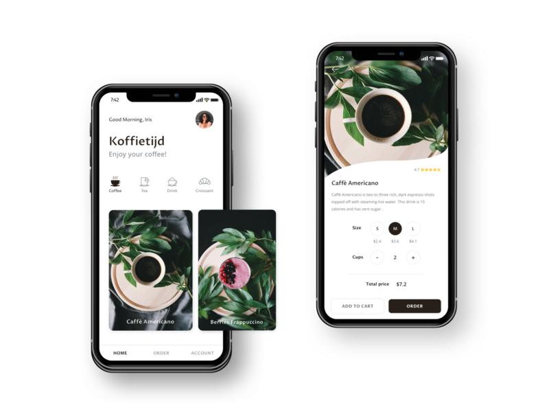 Mobile app for coffee 'Koffietijd' homepage ux mobile product product page design coffee ui app mobile app mobile ui