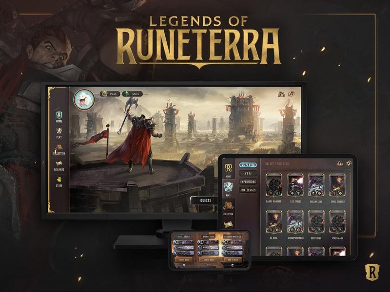 Legends of Runeterra Global Launch ui darius league of legends card game videogame desktop iphone ipad design branding typography logo