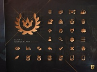 Legends of Runeterra Client Iconography gaming grid settings friends deck poro iconography icons branding design videogame card game league of legends ui typography