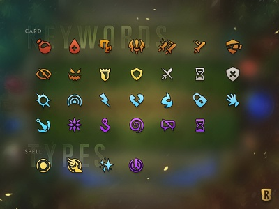 Legends of Runeterra Keyword Icons gradient gameplay hand spells mana vial potion shield sword videogame ui typography league of legends icons iconography gaming design card game branding