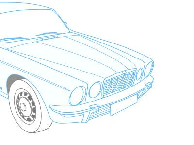 Jag sketch sketchapp vector line drawing jaguar 1976 xj6
