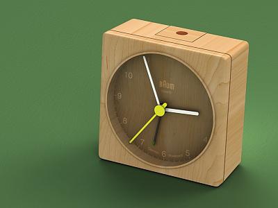 Almost tree o'clock baum wooden 3d strata3d cheetah3d braun bnc002 maple walnut clock alarm clock