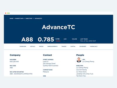 Company listing page australia stock exchange finance web design branding
