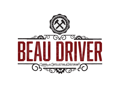 Beau Driver Branding ironwork victorian intellectual academia logo vector colorado weathered bold gears hammers vintage iron early 20th century labor movement history