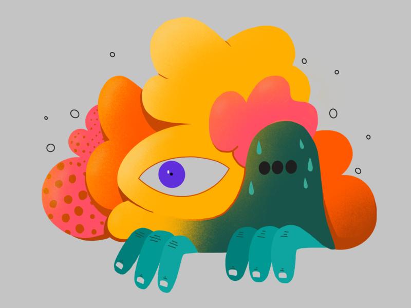 001 ipad procreate brain eye fear thinking colors abstract character illustration