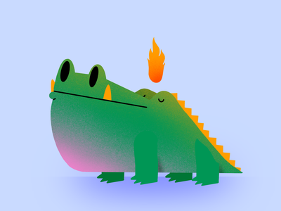 see you later fire gator alligator animals thecamiloes procreate illustration