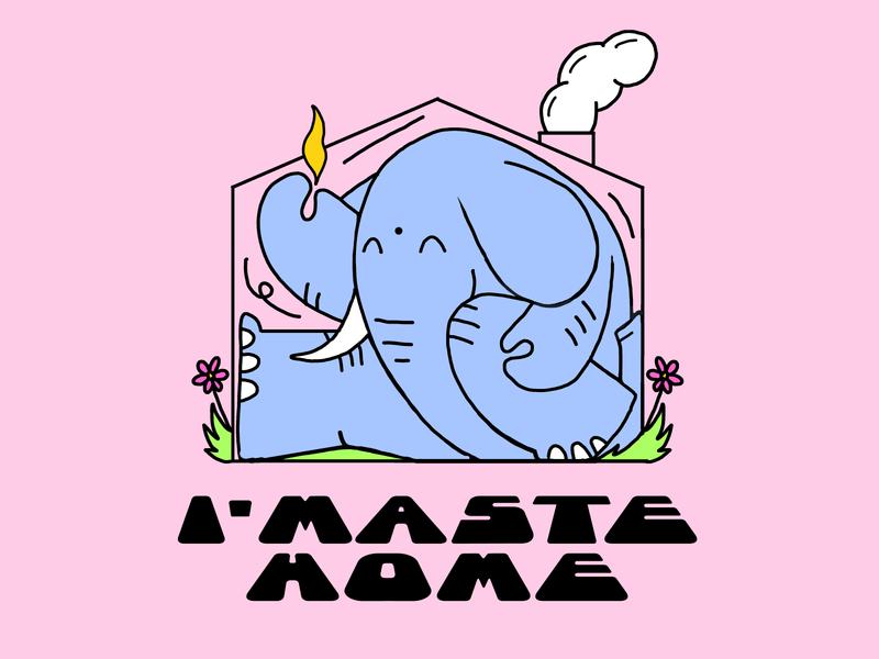 immaste home stretch namaste yoga elephant thecamiloes character illustration