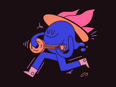hey daniel character design color colors water guitarist player music banjo fire procreate design character illustration
