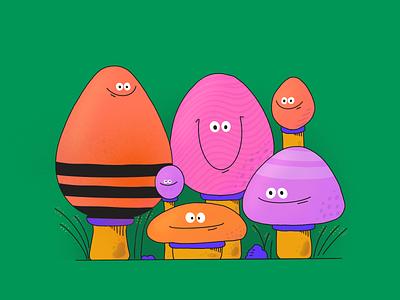 Mushrooms kids mushrooms mushroom character design colors procreate thecamiloes character design illustration