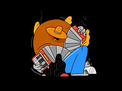 El acordion de Jacinto en su jugo ipad color character design colors design character procreate thecamiloes music illustration accordion