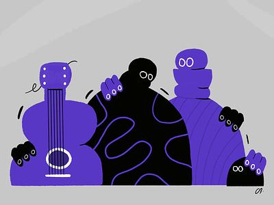 Una familia de músicos guitarra musica guitar familia family character design colors music design character procreate thecamiloes illustration