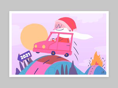 Happy Holidays! car santa holidays colors design character procreate thecamiloes illustration