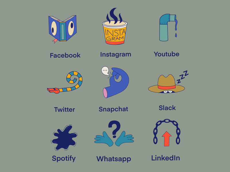 Social Media Logos sketch linkedin snapchat whatsapp youtube twitter instagram facebook apps media social thecamiloes logo
