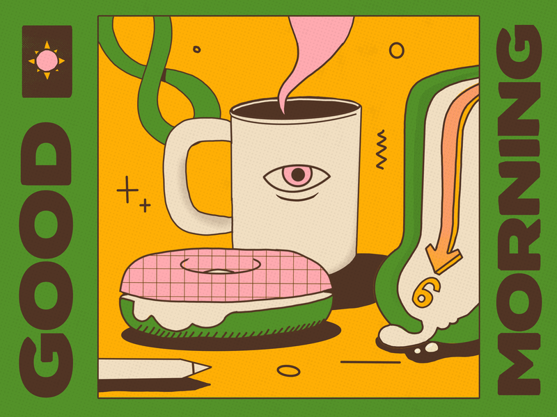 Morning Persistence morning clock melting coffee bagel illustration