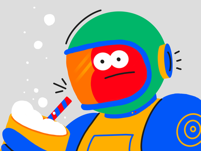Boba the Astronaut character artmash straw procreate characterdesign illustration astronaut tea bubble boba