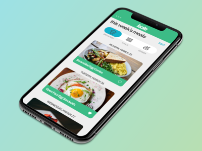 Kale UX Design Project - This Week's Meals Screen