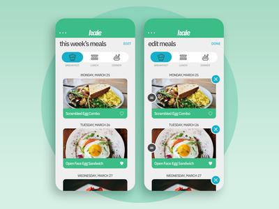 Kale App Concept - Meals/Edit Meals Screens