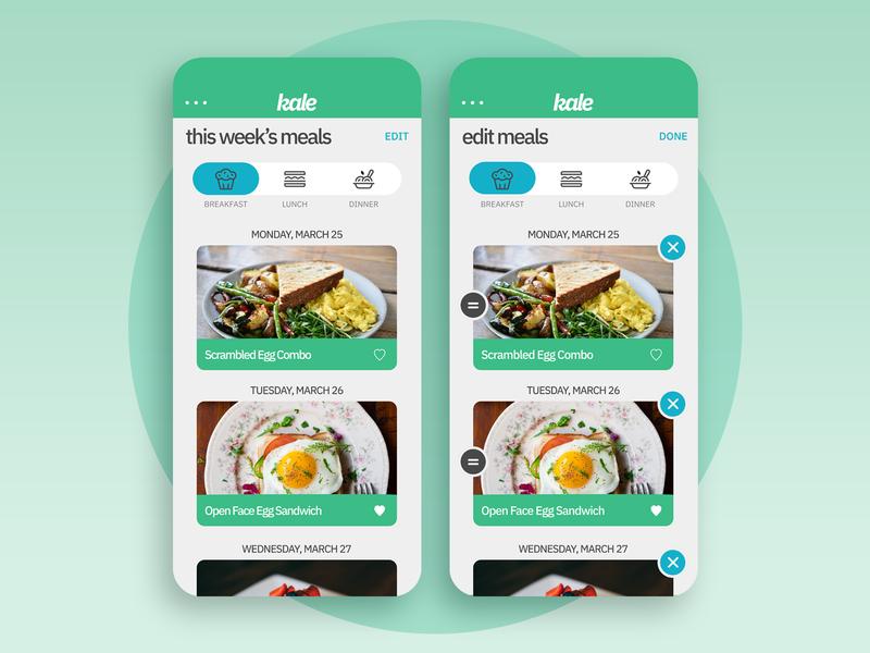 Kale App Concept - Meals/Edit Meals Screens ux design concept ui design uxui uiux design mockup app ux ui