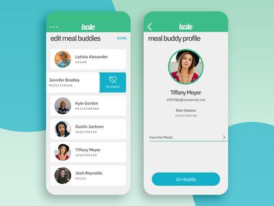 Kale App Concept - Edit Meal Buddies/Buddy Profile