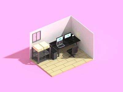 My desk in Voxel voxel magicavoxel 3d art illustration