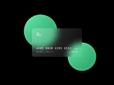 Frosted Debit Card Rebound vector illustration simple modern minimal clean mint black green blurred background blur transparent credit card debit card frosted glass