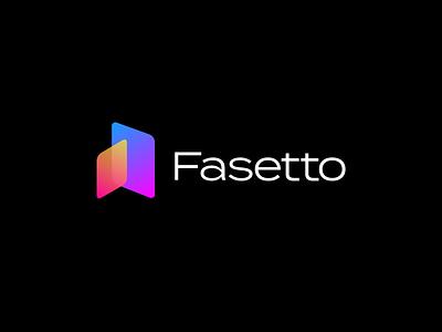 Fasetto Logo Concept gradient fasetto design illustration vector typography purple modern mark icon blue black app branding 2019 simple lockup clean logo minimal