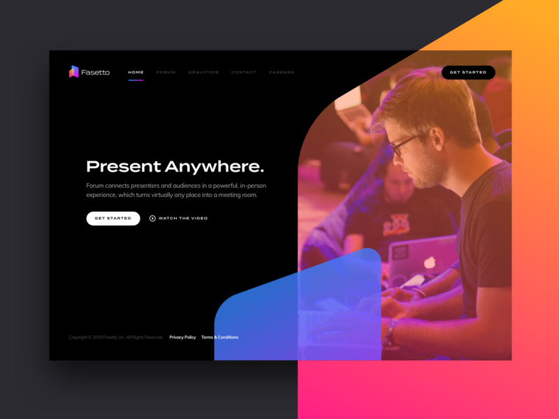 Fasetto Website Concept landing page homepage website vector typography purple modern mark icon blue black app branding 2019 simple lockup clean logo minimal fasetto