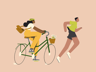 Moving Bodies 01 runner bicycle illustration