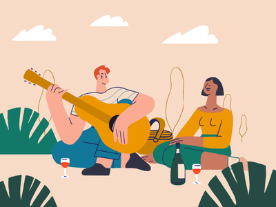 Park Life picnic guitar photoshop illustration