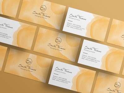 Watercolor Business Card Design ui lettering design marker calligraphy branding company branding logo id card card watercolor business card business card
