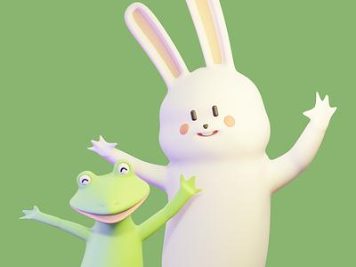 R & F game 3d blender c4d illustration frog rabbit