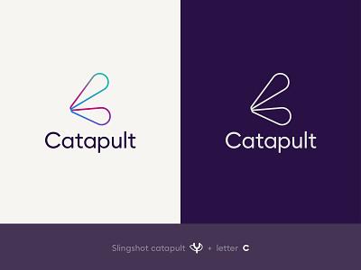 Catapult Logo slingshot sans serif gradient symbol monogram logo monogram catapult tech logo technology graphic design design branding logo design logo