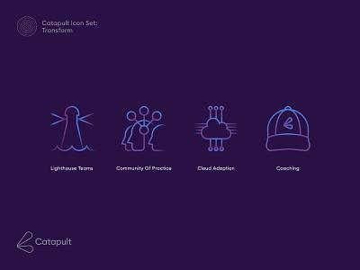Catapult Icons Transform purple blue logo identity icon vector illustration logo design tech logo symbol gradient color gradient technology graphic design design branding icon design iconset icons