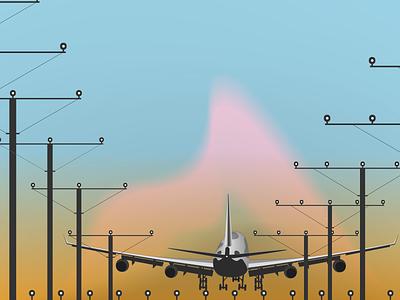 Landing Flight landing flight vector design illustration