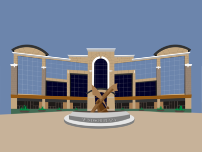 Windsor Plaza simple illustration architecture building ui vector brown illstrator design illustration