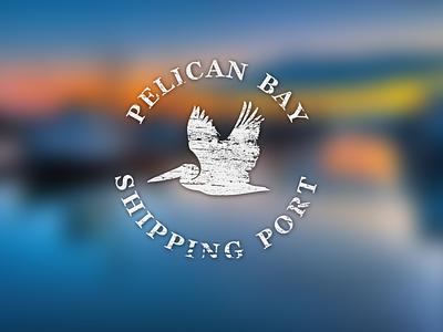 Pelican Logo pelican logo bay port shipping blurry sea fly bird vintage texture