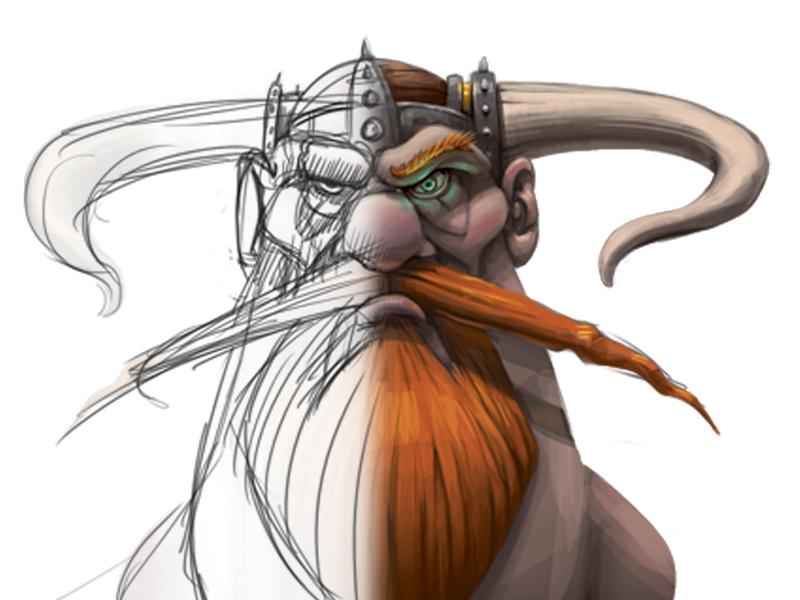 Viking Process viking character photoshop sketch drawing digital painting design rendering