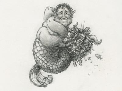 Merman mermaid merman ocean sea illustration pencil graphite character happy fisherman net character design