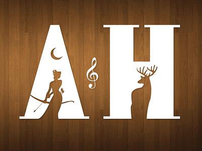 Artemis & the Hunt logo band vector mark deer artemis negative space